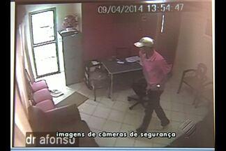 Médico é baleado durante assalto a uma clínica - Imagens do circuito interno de TV registraram assalto à clínica.