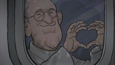 Exposição mostra caricaturas do Papa Francisco - Uma exposição inédita no Museu de Arte Sacra de São Paulo exibe charges do papa feitas por diversos artistas.