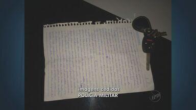 PM detém dois adolescentes com carro roubado em Hortolândia, SP - A PM localizou o veículo durante um patrulhamento na noite de quinta-feira (29). Com um dos rapazes foi encontrado um testamento escrito a mão. O texto foi feito para a mãe caso o roubo desse errado.