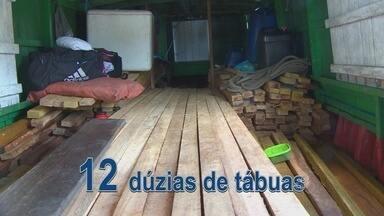 Polícia Ambiental apreende embarcação com madeira ilegal - A Polícia Ambiental apreendeu quatro embarcações vindas do Pará, repletas de madeira transportada de forma irregular. Eram cabos de vassouras e tábuas. Quatro pessoas foram autuadas e multadas.