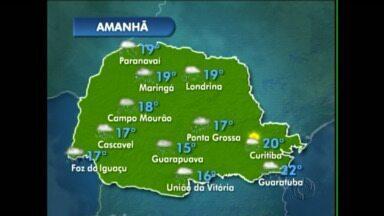 Previsão de chuva para a região de Maringá - Em Campo Mourão também deve chover