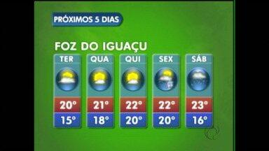 Confira a previsão do tempo para Foz do Iguaçu - O tempo fica aberto na cidade pelo menos até quinta-feira, na sexta-feira volta a chover.