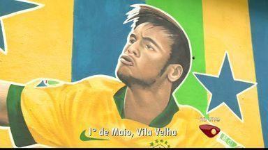 Jogadores do Brasil são homenageados com pinturas em muros de bairro de Vila Velha, no ES - O camisa 10 Neymar foi homenageado no bairro 1º de Maio.