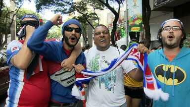 Torcedores da Costa Rica e da Inglaterra já estão em Belo Horizonte - Seleções se enfrentam nesta terça-feira (24).