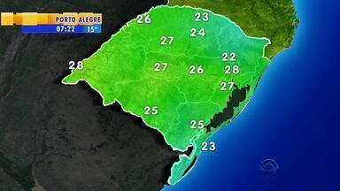 Tempo: áreas de chuvas ficam intensas na metade sul do RS - Temperaturas seguem em elevação.