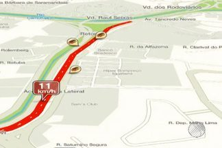Confira os pontos de lentidão no trânsito pelo Mapa da Velocidade - Para conferir ao vivo acesse g1.com.br/bahia/mapadavelocidade .