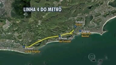 Escavações da linha 4 do metrô estão na reta final - As escavações da linha 4 do metrô estão perto de acabar. São 10 quilômetros de túneis entre a Barra e a Gávea.