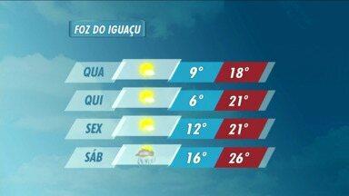 Veja a previsão do tempo para Foz do Iguaçu - Uma frente fria que chega ao estado derruba a temperaturas na cidade.