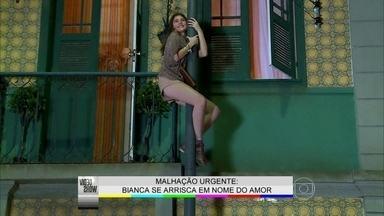 Bruna Hamú supera o medo de altura para se arriscar por Bianca - Veja os bastidores da cena em que atriz de Malhação desce em um poste