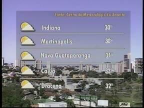 Quarta-feira deve seguir com temperaturas elevadas no Oeste Paulista - Máximas podem chegar aos 30º C em algumas cidades da região.