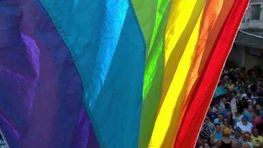 Parada Gay movimenta calçadão da Rua Halfeld em Juiz de Fora, MG - Evento contou com discursos a favor da diversidade e contra o preconceito.