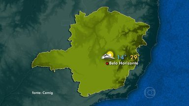 Sol deve aparecer em todo o estado neste domingo - Em Belo Horizonte, tempo varia de claro a nublado. Temperaturas devem ficar entre 14°C e 29°C.