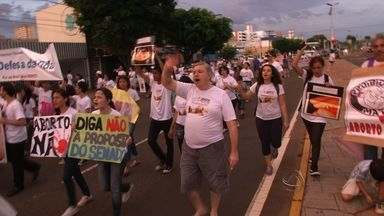 Manifestantes participam de marcha contra o aborto - É a primeira vez que Campo Grande participa da Marcha em Defesa da Vida