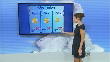 Confira a previsão do tempo para a região de São Carlos nesta quarta-feira (10) - Confira a previsão do tempo para a região de São Carlos nesta quarta-feira (10).