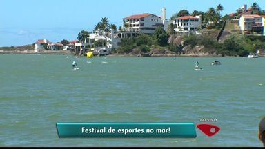 Praia do ES recebe competição de esportes aquáticos - Curva da Jurema ficou anima com diversos atletas e espectadores que assistiras às disputas.