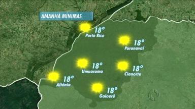Domingo de muito calor no noroeste - Em Porto Rico a máxima prevista é de 35º, e em Umuarama, a semana pode começar com chuva.