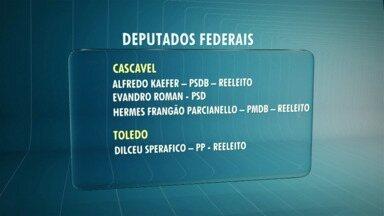 Quatro deputados eleitos vão representar a região em Brasília - Cascavel e Toledo conseguiram eleger 4 deputados federais