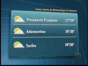 Previsão é de clima ameno para esta terça-feira - Confira as temperaturas para algumas cidades do Oeste Paulista.
