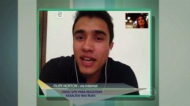 Jovem cria site para registrar assaltos nas ruas - Felipe Norton mapeia locais com mais delitos