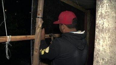 Moradores reconstroem barracos em área desocupada em área no limite entre SP e Diadema - O local, que fica no bairro Mata Virgem, na Zona Sul, é uma área de proteção ambiental permanente, de acordo com a Prefeitura de São Paulo.