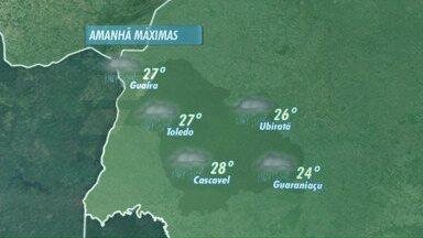 Previsão de pancadas de chuva para o fim de semana - As temperaturas caem um pouco no Oeste do Paraná.