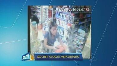 Comerciante é baleado por mulher durante assalto, em Manaus - Imagens registraram a ação da suspeita; crime ocorreu na capital.