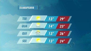 A quarta-feira tem sol e possibilidade de pancadas de chuva na região de Guarapuava - As temperaturas ficam mais amenas e podem ocorrer pancadas de chuva ao longo do dia.