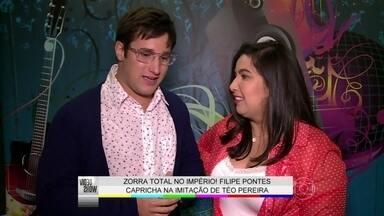 Filipe Pontes mostra em primeira mão sua nova imitação - Humorista faz sua versão de Téo Pereira para Vídeo Show