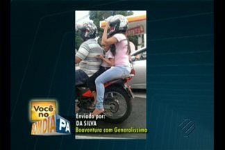 Flagrante: motociclista leva uma criança, que está sem capacete - Foi na rua Boaventura da Silva, esquina com a Generalíssimo Deodoro.
