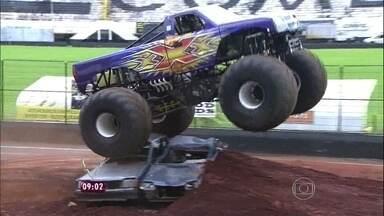 Ana Maria mostra os 'Monsters Trucks' ou Caminhões Monstros - Um evento com esses veículos foi realizado em São Paulo
