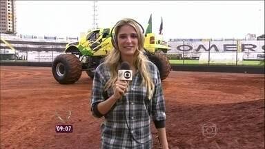 Rafa Brites foi até Ribeirão Preto mostrar manobra inédita na TV brasileira - Veja imagens malucas de demonstrações de 'Monsters Trucks' pelo mundo