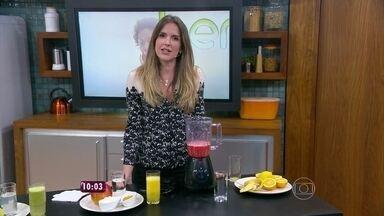 Direto do 'Bem Estar', Mariana Ferrão dá receitas de sucos funcionais - Ana Maria e Ana Carolina provam e aprovam os sucos