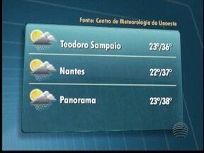 Podem ocorrer pancadas de chuva no Oeste Paulista - Temperatura pode chegar aos 36 ºC em Pres. Prudente.
