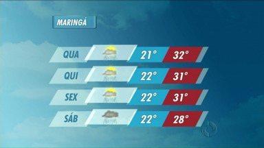 O tempo segue instável na região de Maringá - Podem ocorrer pancadas de chuva ao longo do dia