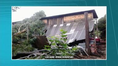 Temporal causa estragos no sul do Paraná - Na região de Cruz Machado, a chuva foi forte e rápida, mas causou prejuízos.