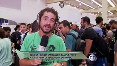 Felipe Andreoli mostra detalhes da Campus Party, feira de tecnologia - Maior evento de 'nerds' do mundo começa hoje em São Paulo