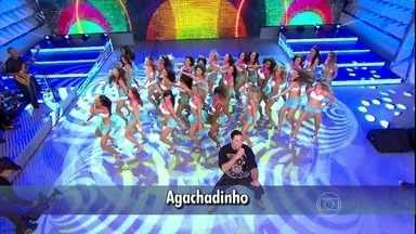 Com 'Agachadinho', Harmonia leva a plateia do Domingão à loucura - Galera canta junto do grupo e se diverte