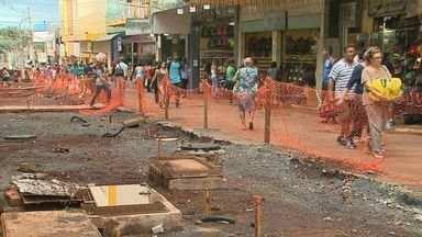 Obras do Calçadão, em Ribeirão Preto, ganham mais um canteiro de obras - Reformas feitas no Centro da cidade duram cerca de três anos.
