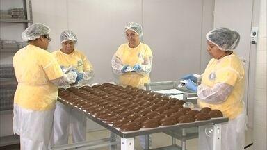 Fábricas de chocolates reforçam produção em Jundiaí - As fábricas de chocolates de Jundiaí (SP) já estão reforçando a produção. O carnaval nem chegou, mas já tem um grupo de trabalhadores que só pensa na Páscoa. Para atender os pedidos, as empresas tiveram de aumentar o quadro de funcionários.