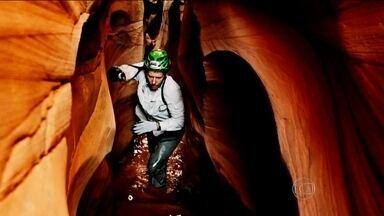 Planeta Extremo refaz o caminho que deixou um montanhista preso 127h em um cânion - Clayton Conservani acompanha Aron Ralston pelo deserto de Utah, nos Estados Unidos