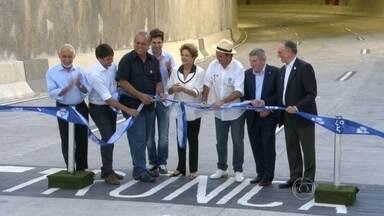 Túnel Rio 450 é aberto aos motoristas - Foram quase três anos de obras. A presidente Dilma Rousseff, o governador Pezão e o prefeito Eduardo Paes participaram a cerimônia de inauguração.