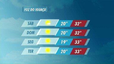 Semana segue ensolarada em Foz do Iguaçu - A máxima na cidade será de 33 graus.