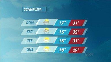 O domingo será quente na região de Guarapuava - Os termômetros passam dos 30 graus em várias cidades da região. E podem ocorrer pancadas de chuva.