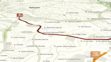 Veja como está o trânsito em Salvador pelo mapa da velocidade - Na Avenida Oceânica, a velocidade média é de 22 km por volta das 12h10 desta segunda-feira (16).