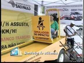Simulador apresenta impacto de acidentes - Aparelho está na base da Polícia Rodoviária em Pres. Prudente.