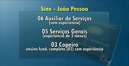 Saiba quais são as vagas de emprego intermediadas pelo Sine João Pessoa - O Sine fica localizado na Av. Cardoso Vieira, 85, Varadouro.