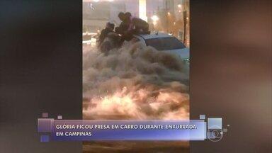 Mulher fica presa em carro durante enxurrada em Campinas, São Paulo - Glória Regina não conseguia sair do veículo por causa do grande volume de água e acabou sendo salva por pessoas que passavam pelo local