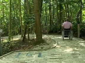 Parque do Córrego Grande na capital conta com pista de acessibilidade para deficientes - Parque Ecológico do Córrego Grande na capital conta com pista de acessibilidade para deficientes físicos