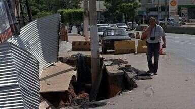 MPE, governo e prefeitura de Cuiabá fazem perícia em local de desmoronamento - Obra só poderá ser retomada depois do dia 23 de abril, após assinatura de um TAC