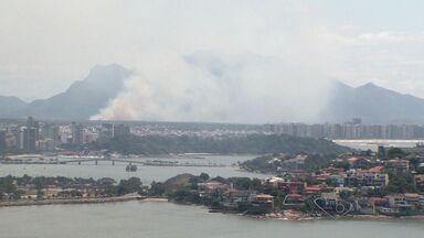 Incêndio volta a atingir região turfa, no ES - O incêndio começou por volta das 9h na região do Mestre Álvaro.